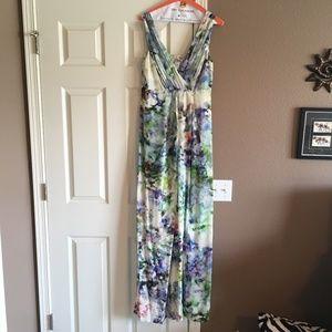 Seraphine Floral Silk Maternity Maxi Dress, Sz 10